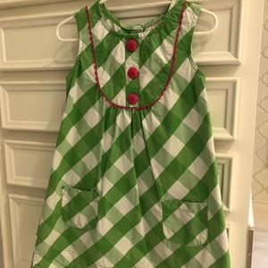 Green & white buffalo check dress